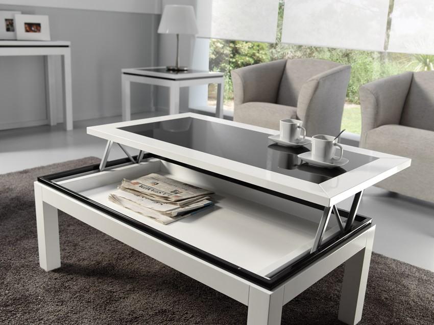 mesa de centro elevable lacada con cristal
