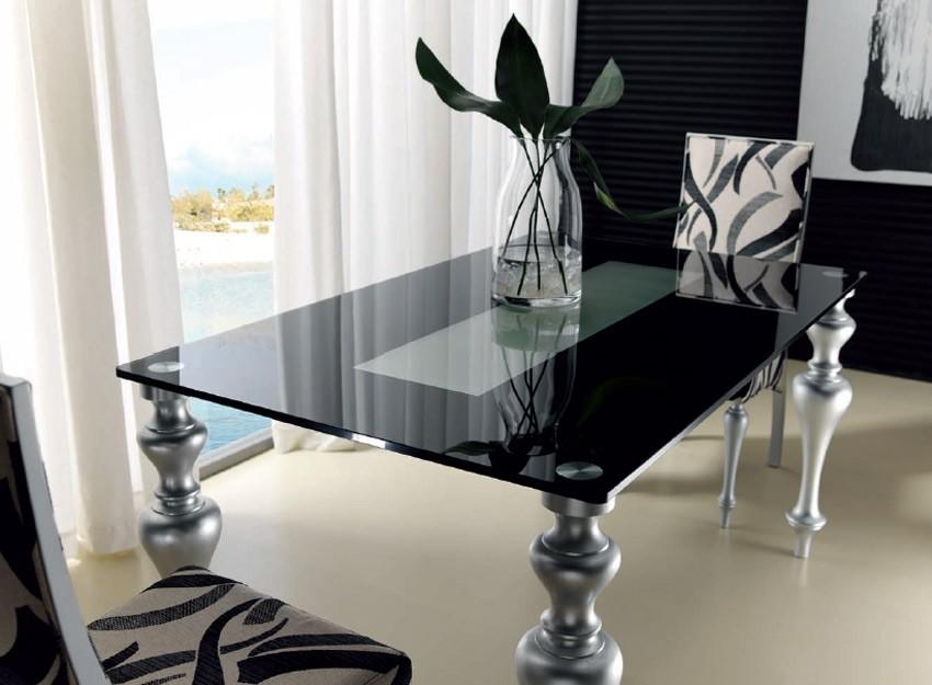Mesa de comedor con patas torneadas y tapa cristal - Patas regulables para mesas ...