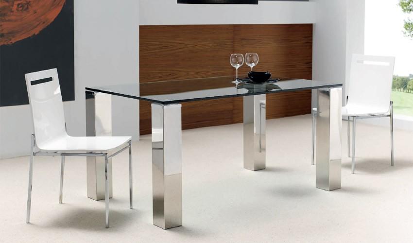Mesa de comedor con patas en acero for Patas de mesa de hierro
