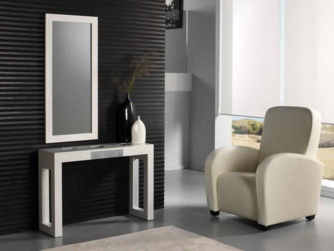 Conjunto recibidor lacado consola mas espejo for Mesas recibidores modernos