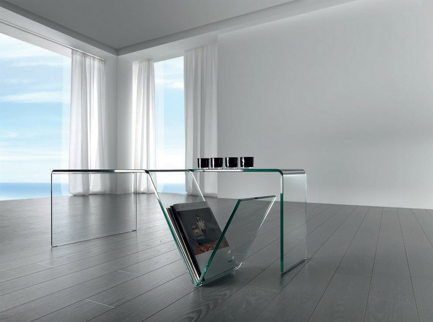 Mesa de centro de cristal con revistero ref q39000 car - Mesas de centro de cristal ...