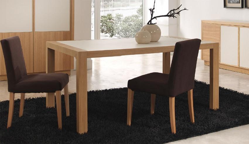 Mesa de comedor extensible fabricada en roble y cer mica - Mesas de comedor ovaladas extensibles ...