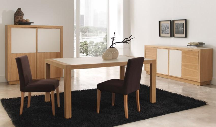 Mesa de comedor extensible fabricada en roble y cer mica for Mesa comedor blanca y madera