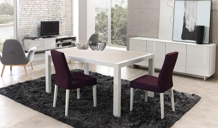 Mesa de comedor extensible lacada con tapa cer mica - Mesa comedor blanca lacada ...