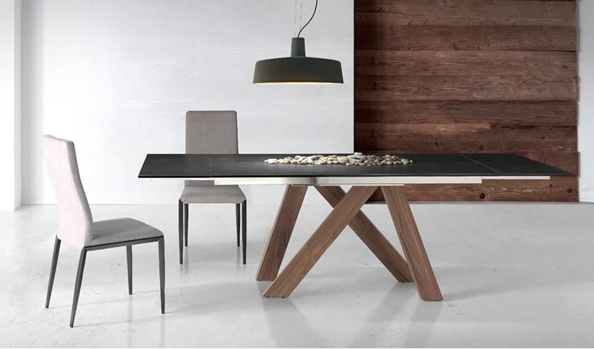 Mesa comedor Extensible con Tapa cermica y patas de madera