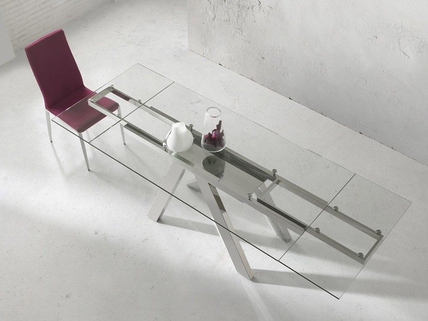 Mesa comedor extensible con tapa de cristal y patas met licas - Mesas de comedor de cristal y acero ...