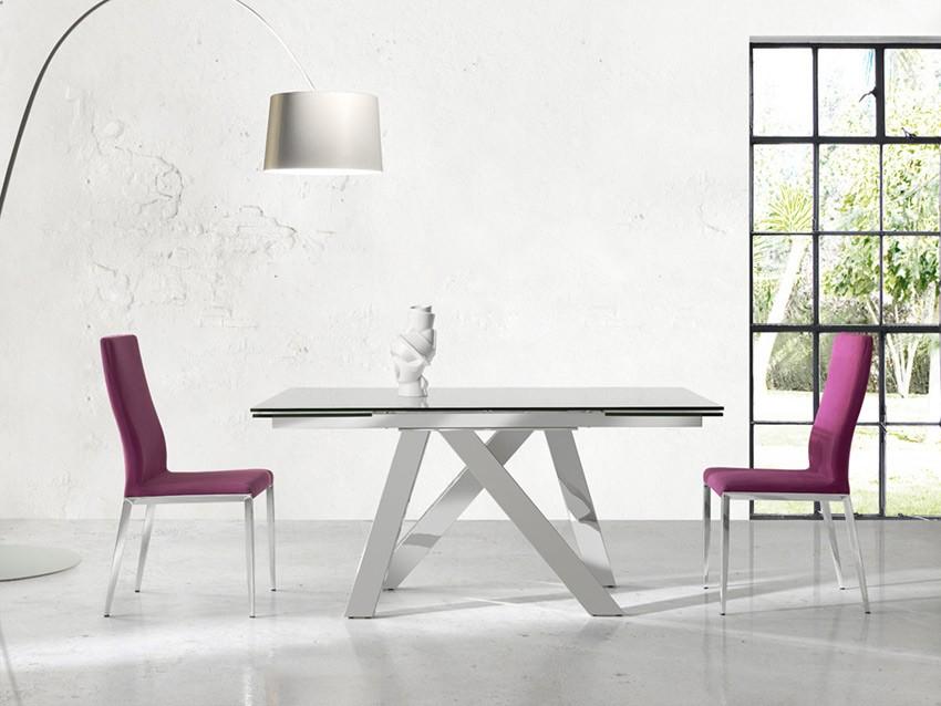Mesa comedor extensible con tapa de cristal y patas met licas - Patas metalicas para mesas ...