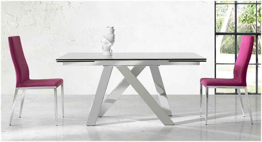 Mesa comedor extensible con tapa de cristal y patas met licas - Patas para mesa de cristal ...