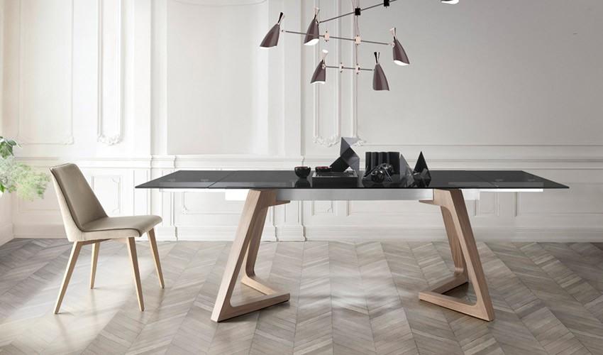 Mesa comedor Extensible con Tapa cerámica y patas de madera