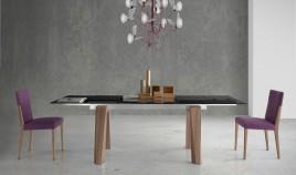 Mesa comedor Extensible con Tapa cerámica y patas de madera Ref Q135000