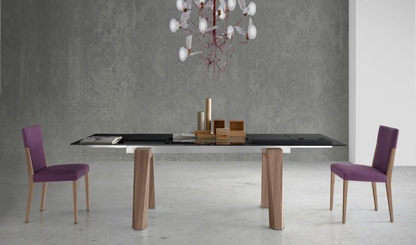 Mesa comedor extensible con tapa cer mica y patas de madera for Mesa comedor redonda extensible madera