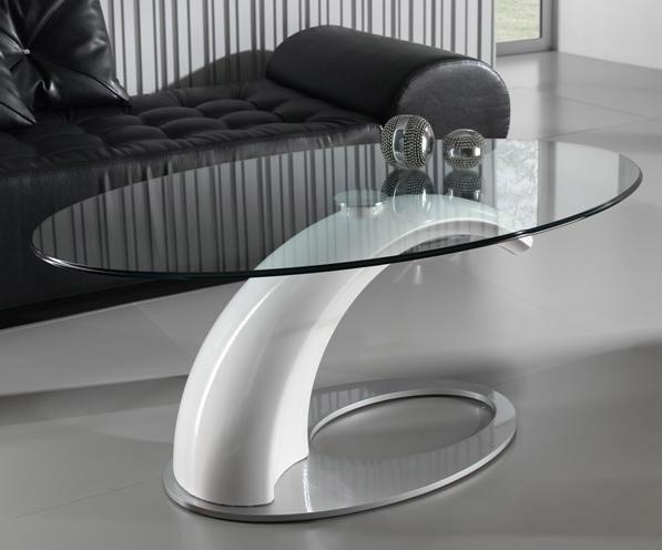 Mesa de centro de dise o con tapa cristal for Mesas de comedor de cristal ovaladas