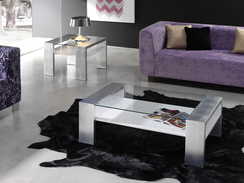 mesa de centro de diseo tapa cristal ref