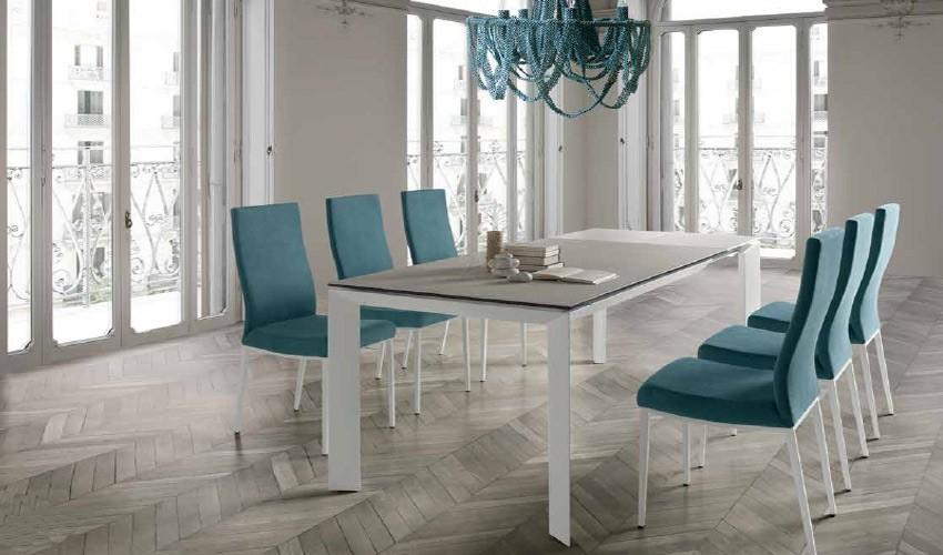 Mesa comedor Extensible con Tapa cerámica o cristal y patas metálicas