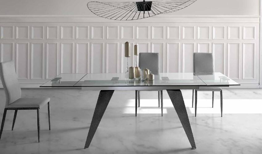 Mesa comedor Extensible con Tapa Cristal o cerámica y patas metálicas