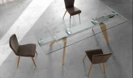 Mesa comedor Extensible con Tapa Cristal o Cerámica y patas de madera Ref Q22000