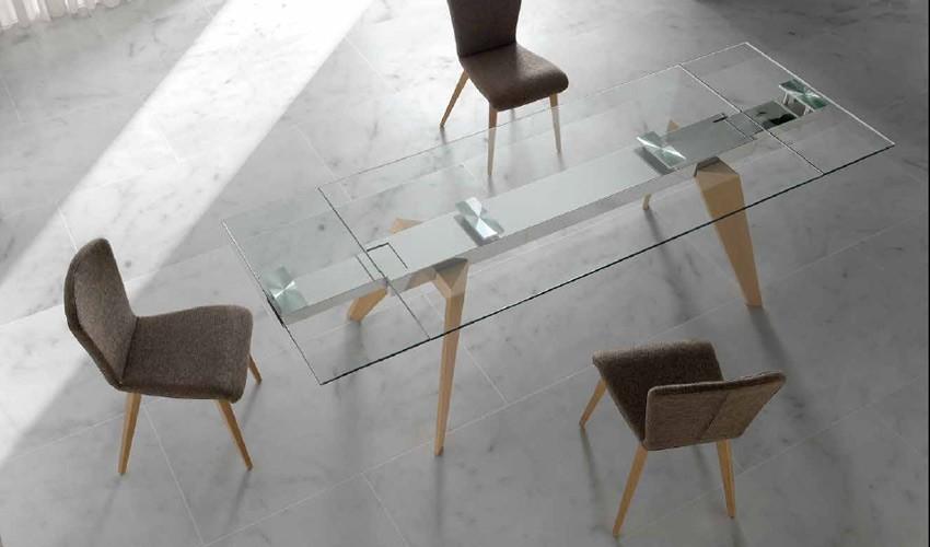 Mesa comedor Extensible con Tapa Cristal o Cerámica y patas de madera