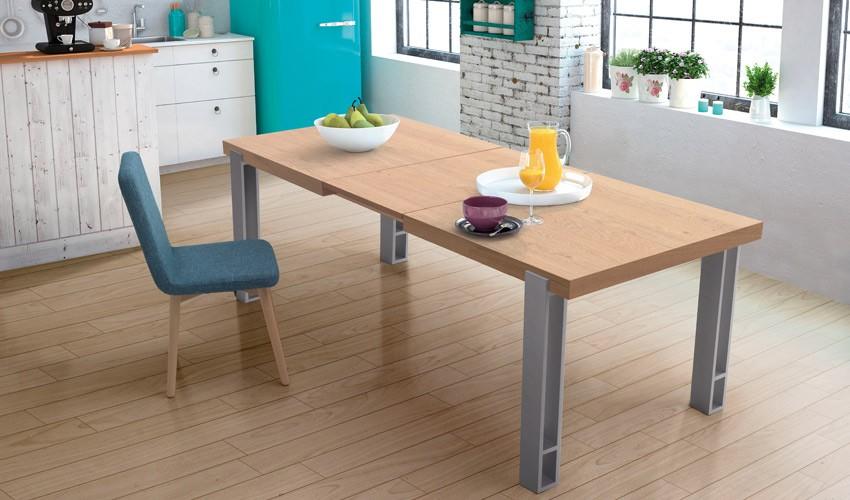 Mesa de comedor extensible con acabado lacado o en chapa - Patas metalicas para mesas ...