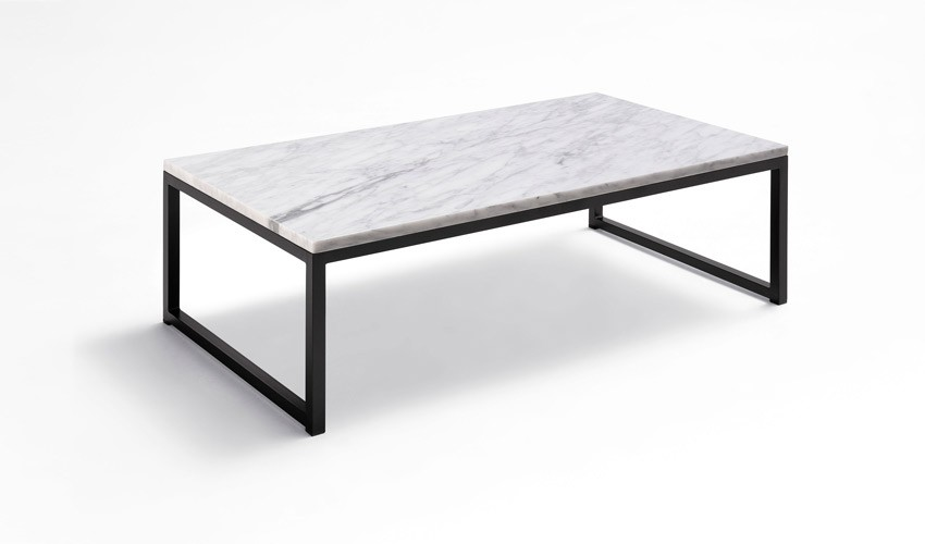 Mesa de centro con tapa en marmol y patas met licas - Mesas de marmol y cristal ...