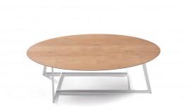 Mesa de Centro ovalada con acabado lacado o en chapa natural y patas metálicas Ref L182000