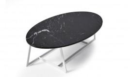 Mesa de Centro ovalada con tapa en marmol y patas metálicas Ref L183000