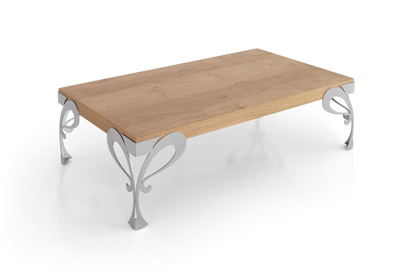 Mesa de centro con acabado lacado o en chapa natural y for Patas de forja para mesas
