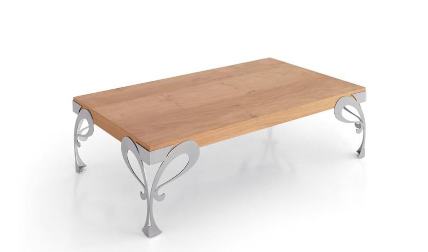 Mesa de Centro con acabado lacado o en chapa natural y patas en forja Ref L185000