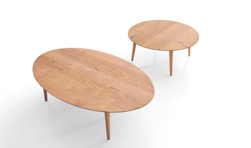 Mesa de Centro redonda y ovalada con acabado lacado o en chapa natural Ref L186000
