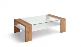 Mesa de Centro con tapa cristal y acabado lacado o en chapa natural Ref L188000