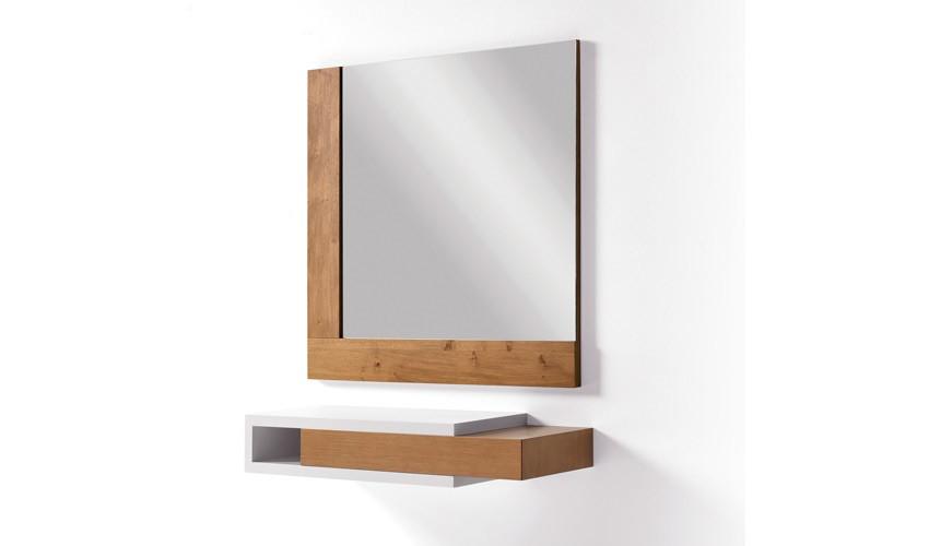 Conjunto recibidor con consola y espejo acabado lacado o en chapa natural Ref L192000