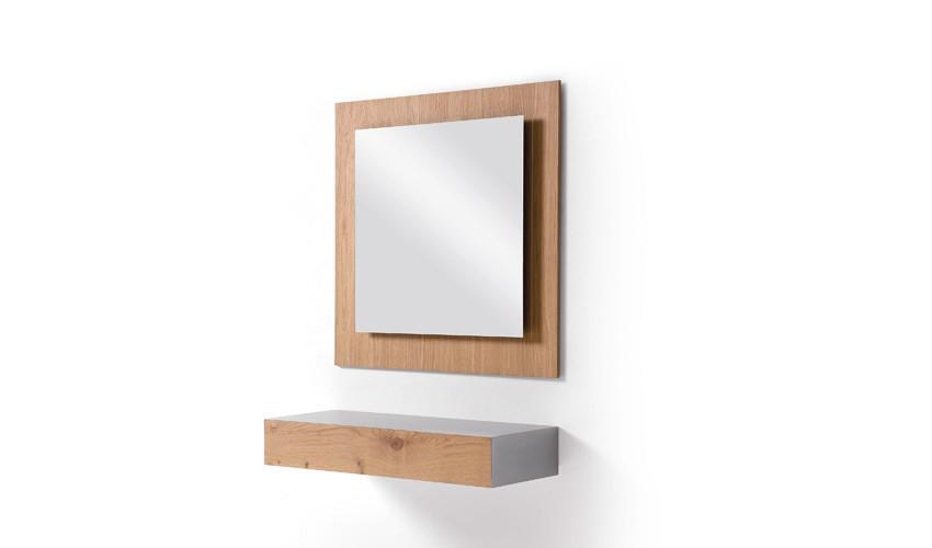 Conjunto recibidor con consola y espejo acabado lacado o en chapa natural Ref L193000