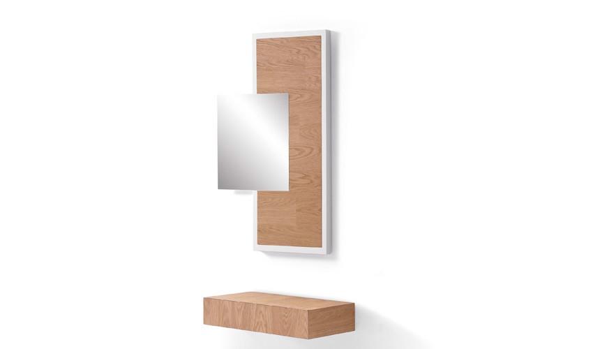 Conjunto recibidor con consola y espejo acabado lacado o en chapa natural Ref L194000