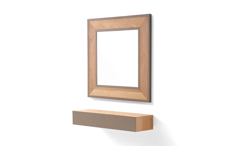 Conjunto recibidor con consola y espejo acabado lacado o en chapa natural Ref L195000