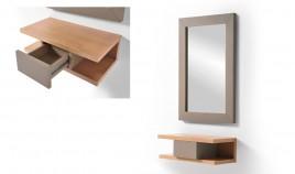 Conjunto recibidor con consola y espejo acabado lacado o en chapa natural Ref L196000