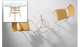 Mesa comedor redonda con Tapa de Cristal con patas de madera Ref Q121000