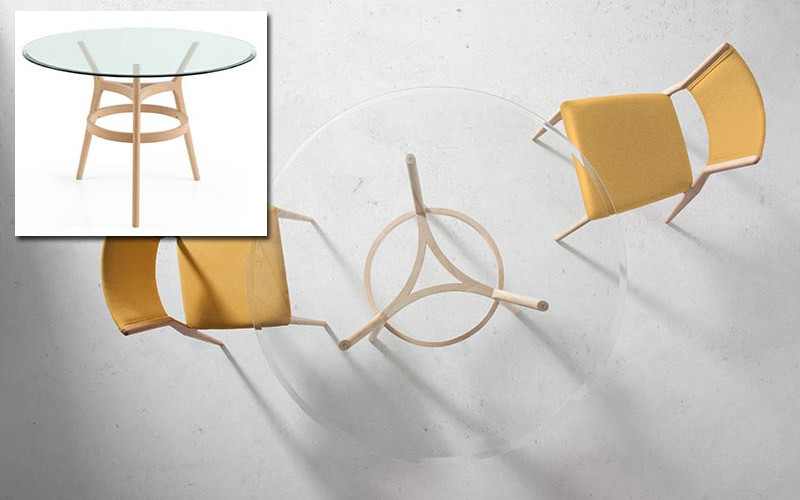 Mesa comedor redonda con Tapa de Cristal con patas de madera