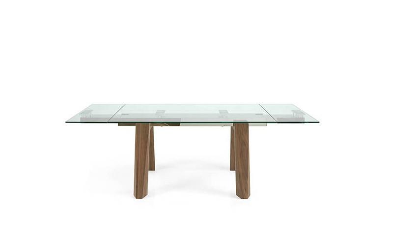 23d43eeb Mesa comedor Extensible con Tapa cristal o cerámica y patas de madera Ref  Q157000