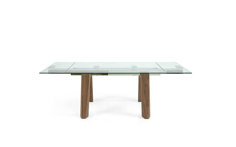 Mesa comedor Extensible con Tapa cristal y patas de madera Ref Q157000