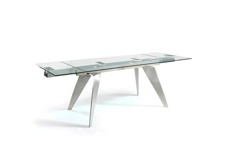 Mesa comedor Extensible con Tapa Cristal o cerámica y patas metálicas Ref Q21000