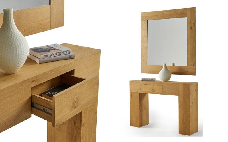 Conjunto recibidor con consola y espejo acabado lacado o en chapa natural Ref L197000