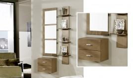 Conjunto recibidor de consola, espejo y estantería Ref H10112