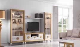 Salón de Diseño con módulo Tv, vitrinas y estante Ref H10153