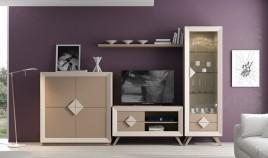 Salón de Diseño con módulo Tv, Aparador, Vitrina y estante Ref H10156