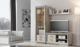 Salón de Diseño con módulo Tv, Vitrina y estante Ref H10157
