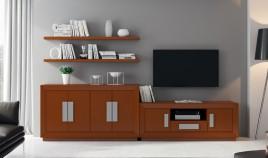 Salón de Diseño con módulo Tv, Aparador y estantes Ref H10161