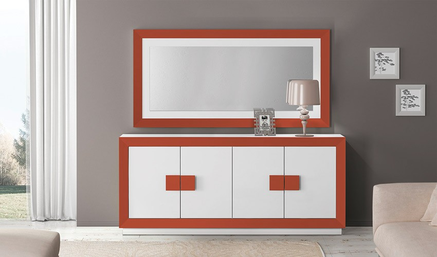 Conjunto Aparador y Espejo de Diseño Ref H10169