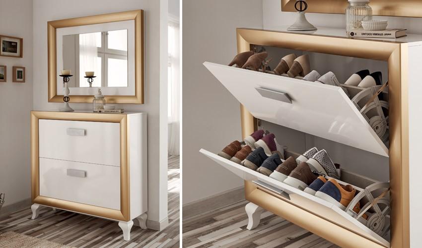 Conjunto recibidor de Diseño de Zapatero con Espejo Ref H10190