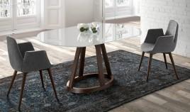 Mesa comedor extensible ovalada o redonda con Tapa de Cristal y patas de madera Ref Q11000