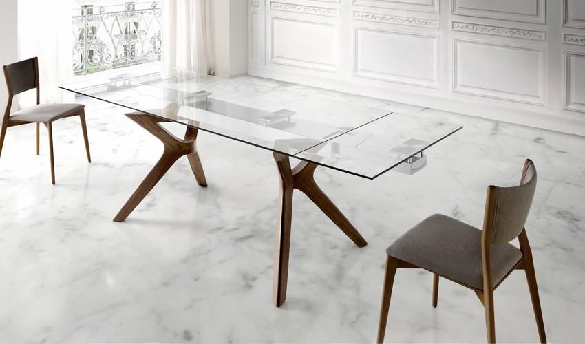 Mesa comedor Extensible con Tapa de Cristal y patas de Madera Ref Q18000