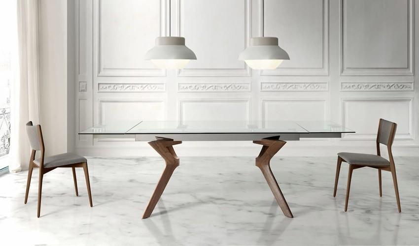 Mesa comedor Extensible con Tapa cerámica y patas de madera Ref Q17000